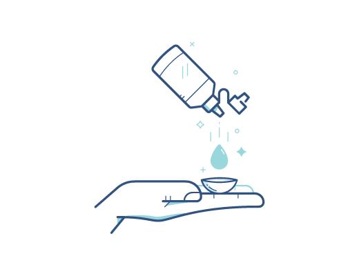 Disinfetta le lenti a contatto con la soluzione liquida