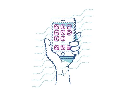 Illustrazione di una mano che afferra il telefono e della vista sfocata dovuta all'astigmatismo