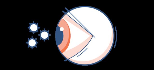Illustrazione di un occhio rosso con particelle di polline nell'aria circostante