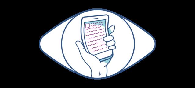 Illustrazione di un cellulare distorto visto da un occhio affetto da degenerazione maculare